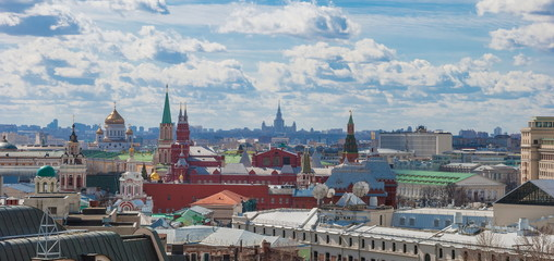 View of the Kremlin in Moscow on the roof of the church and tower