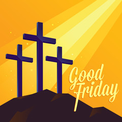 Good Friday Religious Background With Three Cross