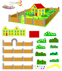 Template with exercise for children. Using scissors and glue need to make toy house with garden. Developing skills for cutting and handwork. Vector image.