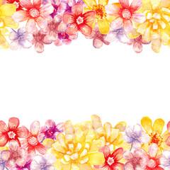 Watercolor flowers borders.