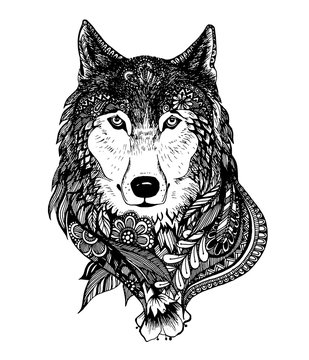 Hand drawn abstract wolf vector illustration
