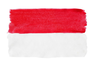 Flag of Indonesia painted with gouache
