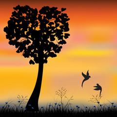 Vector illustration,Sweet Bird Lovers