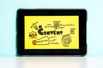 Internet content marketing, tablet pc, yellow illustration.