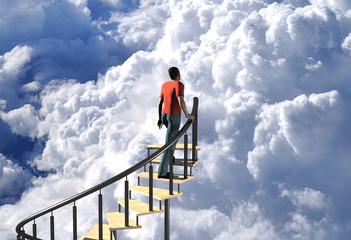 digitally rendered 3d illustration of a stairway to heaven