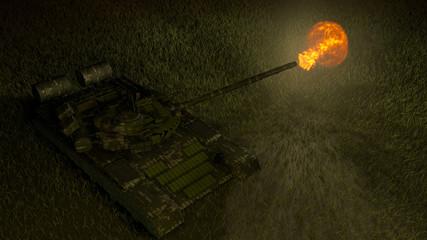 Shot of a tank gun