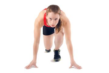 Sports Woman Sprint Start. Female Athlete Runner Running Race.