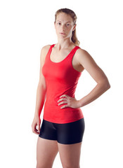 Young Healthy Fitness Woman. Red Vest. Isolated