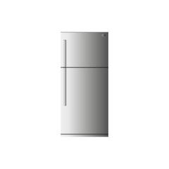 серый холодильник на белом фоне