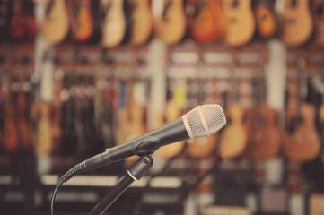 Closeup microphone in a music shop