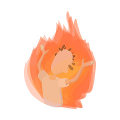 Man on fire icon, cartoon style