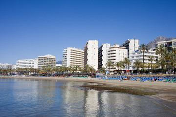 Marbella Beach and City Skyline in Spain