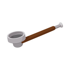 Wooden pipe for smoking marijuana icon