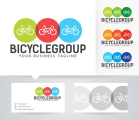 Bicycle Business vector logo with alternative colors and business card template