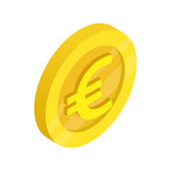 Gold coin with euro sign icon, isometric 3d style