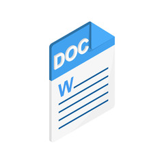 DOC icon, isometric 3d style