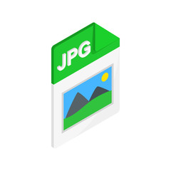 JPG file icon, isometric 3d style