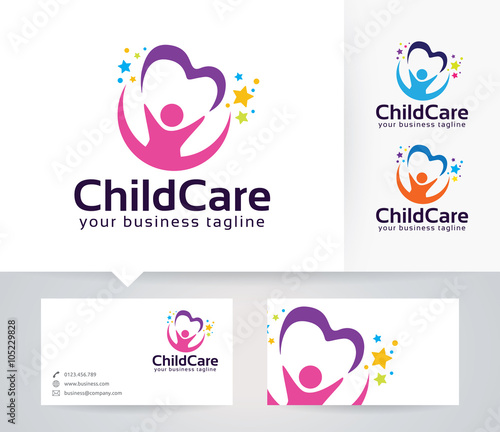 Childcare vector logo with alternative colors and business card childcare vector logo with alternative colors and business card template colourmoves