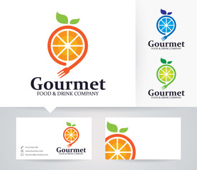 Fruit Gourmet vector logo with alternative colors and business card template