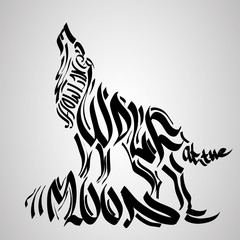 Wolf silhouette with concept text inside. Vector illustration.