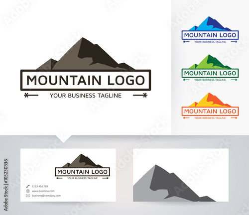 mountain vector logo with alternative colors and business card