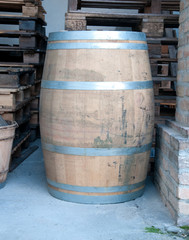 Wooden barrels used to contain wine