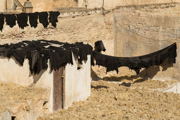 wool and leather skins being dried at a tannery in Fes