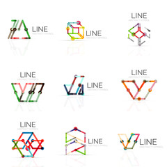Set of linear abstract logos, connected multicolored segments lines in geometrical figures