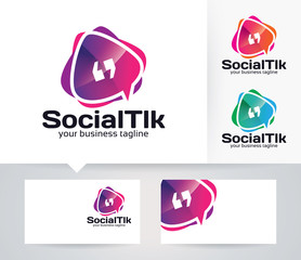 Social Talk vector logo with alternative colors and business card template