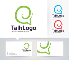 Talk vector logo with alternative colors and business card template
