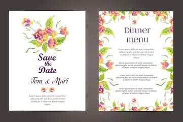 Wedding invitation vector cards set