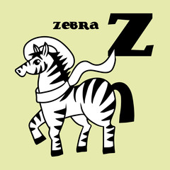 Cartoon doodle zebra with letter Z. Part of animal alphabet.