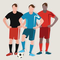 soccer man team play football standing player ball flat drawing illustration