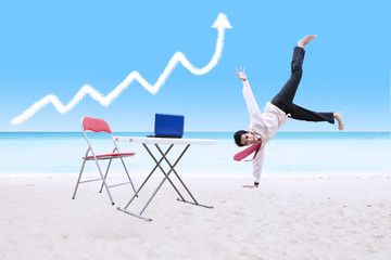 Businessman dancing under growth graph cloud and laptop