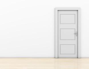 Closed door in a room