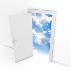 Open door leading to sky