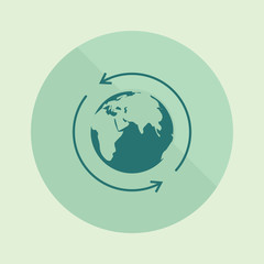 World icon. Earth isolated background. World vector illustration. Earth vector illustration. Earth arrows, lines. Concept network, Internet, global network. Geography.