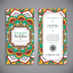 Wedding card or invitation. Vintage decorative elements.