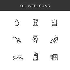 Set of vector icons oil. Oil industry vector icons. Web oil icons