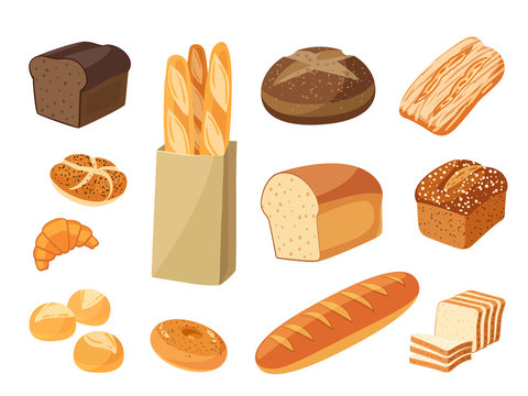 Set of cartoon food: bread - rye bread, ciabatta, wheat bread, whole grain bread, bagel, sliced bread, french baguette, croissant and so. Vector illustration, isolated on white, eps 10.