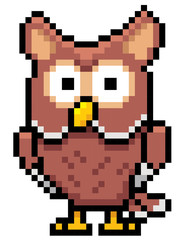 Vector illustration of Cartoon Owl - Pixel design
