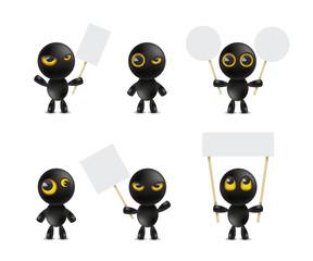 Set of cartoon characters emoticon