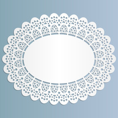 Lace oval paper doily, stand for lace cake,  greeting element package, vector illustrations