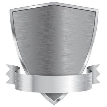 Metal shield with ribbon.
