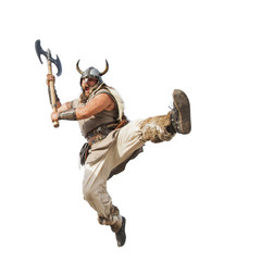 crazy strong viking with traditional costume  jumping to attacking. studio shot, isolated on white background. looking at camera with angry eyes.