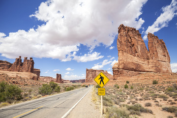 Scenic road with pedestrian crossing sign, Arches National Park.