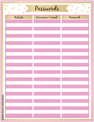 Password Tracker Printable Planner Page Minimalistic Pink And Gold