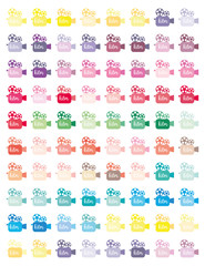 Colorful Videocameras Set  Minimalistic Flat design,colors printable planner stickers,for planners ,journaling,school,office,scrapbook etc.Isolated.Graphic resources.Vector set elements.