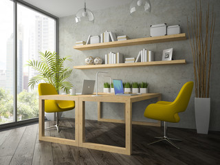 Interior of modern office with two yellow armchair 3D rendering