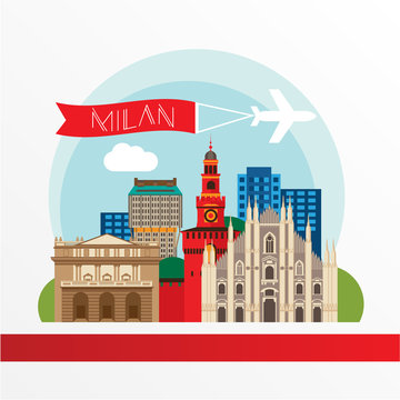 Milan detailed silhouette. Trendy vector illustration, flat style. Stylish colorful  landmarks. Milan Cathedral and La Scala - The symbol of Milan, Italy